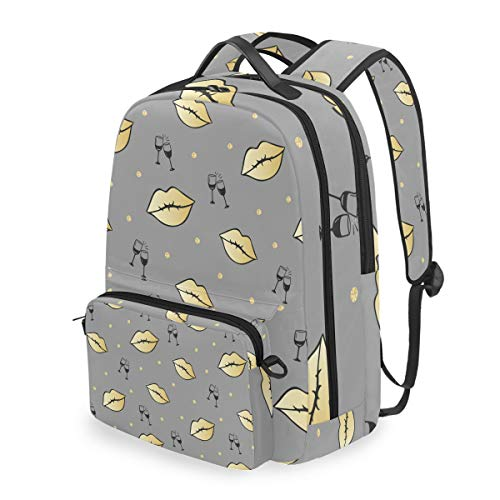 - XLING Detachable Backpack Sexy Lip Polka Dot Wine Cup College School Canvas Book Laptop Bag Girls Boys Travel Hiking Camping Daypack with Cross Bag