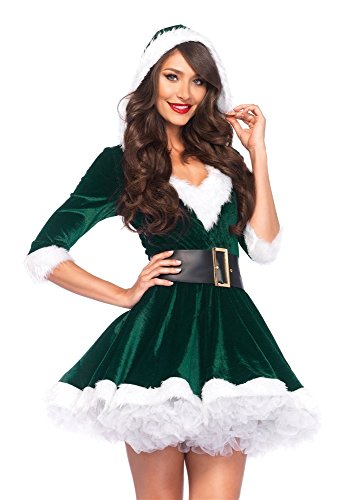 Leg Avenue Women's 2 Piece Mrs. Claus Costume, Green, (Womens Santa Suit)