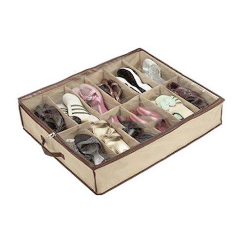 12-Pocket Collection Underbed Shoe Bag, Shoe Organizer