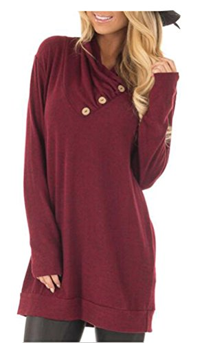 - ETCYY Women's Long Sleeve Pullover Sweatshirt Button Cowl Neck Casual Tunic Tops,Wine,X-Large