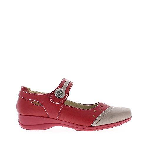 Schuhe Damen rot und grau Komfort luftig Ferse 3,5 cm
