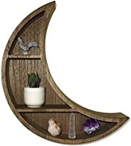 Crescent Moon Wall Shelf - Unique, Moon Shaped Floating Shelves for Crystals- Bohemian Crystal, Essential Oil