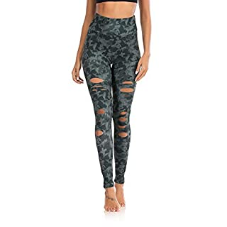 DIBAOLONG Womens High Waist Yoga Pants Cutout Ripped Tummy Control Workout Running Yoga Skinny Leggings Camouflage S