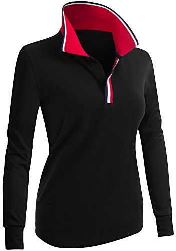 (CLOVERY Women's Line Point Collar Long Sleeve Polo Top Black US L/Tag L)