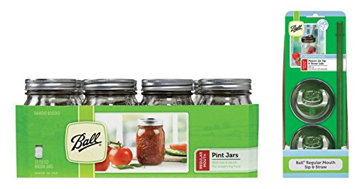 Jar Drinking Glasses Kit- Ball Jar Mouth Pint Jars with Lids and Bands, Regular, Set of 12 + 2 Mason Sip and Straw Lids --16 OZ (Ball Mason Jars 12 Oz)