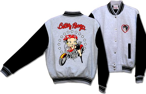 (Licensed Betty Boop Biker Motorcycle Scoot Baseball Jacket Gray and Black BJ-9029)