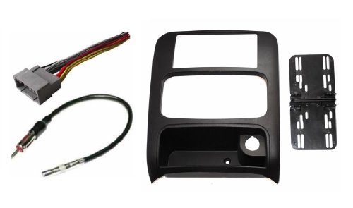 Jeep Liberty 2003 2004 2005 2006 2007 Aftermarket Double Din Radio Installation Dash Kit Bezel + Standard Wire Harness & Antenna Adapter ()