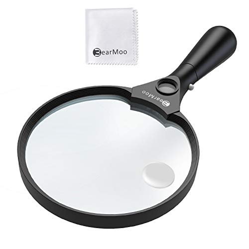 BearMoo 5.5inch Extra Large Magnifying Glass with 3 Light (2X Magnification Lens + 4X 25X Zoom) Jumbo Lighted Handheld Magnifier Glass, 3 Bright LED Illuminated - 5.9oz Lightweight for Reading (Black)