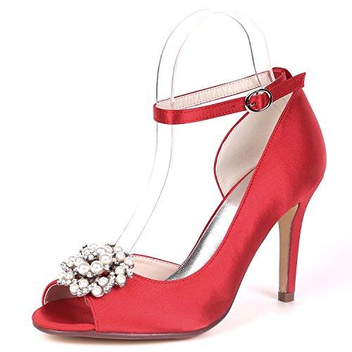 Rebordear Las 9cm Nupcial Toe Bombas Hebilla Noche L Red Satén Mujeres yc Boda Heel De Zapatos Rhinestones Peep nOUwwIFq0