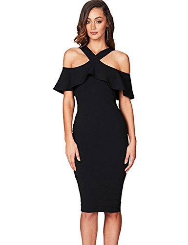 (Maketina Women Off Shoulder Crossover Elegant Midi Knee Length Party Dinner Bodycon Bandage Dress Black L)
