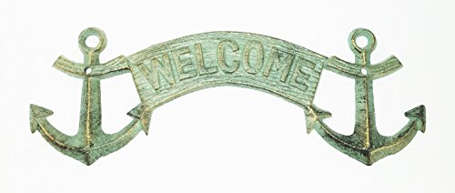 Aunt Chris' Products - Durable Cast Iron - Anchor Welcome Banner Sign - Nautical Green Color With Gold Accents - Wall Mount - Use Indoor Or Outdoor
