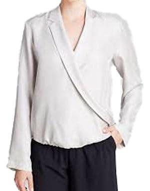 Theory Women's Ilori Modern Blouse Light Silver