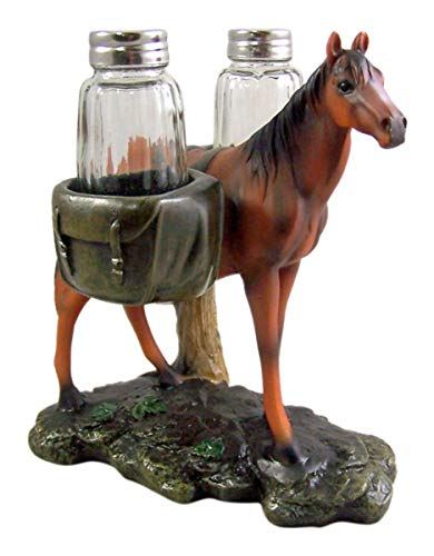Horse With Saddlebag Salt and Pepper Shaker Holder, 6 1/2 Inch (Shakers Included)