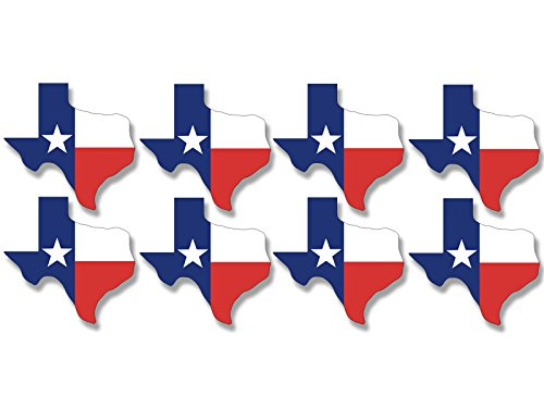 Sheet of 8 Texas SHAPED TX Flag Stickers (tx scrapbooking - Decal Sticker Shaped