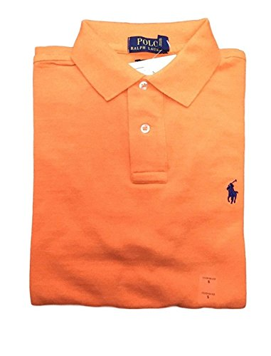 Polo Ralph Lauren Men's Slim Fit Pique Mesh Polo Shirt (Medium, - Blue Polo Orange Lauren Ralph And