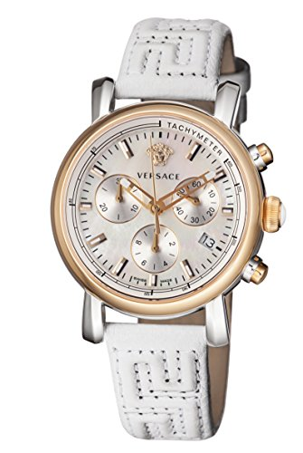 Versace: Two Tone Case, Mother of Pearl Dial, with White Leather Strap and Chronograph