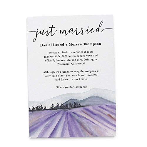 Just Married Lavender Farm Elopement Announcement Cards, Wedding Elopement Card, Announcement Cards (Announcements Wedding Elopement)