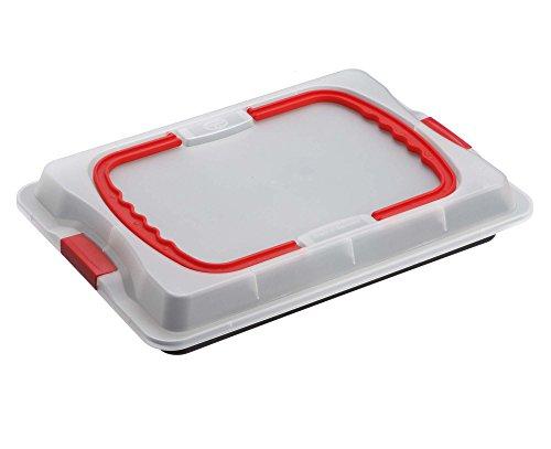 Dr. Oetker Backblech 3in1 mit Transporthaube, Ofenblech zum Backen, Aufbewahren & Transportieren, als Pizza-, Auflauf- & Kuchenblech, Maße: 42 x 29 cm 2