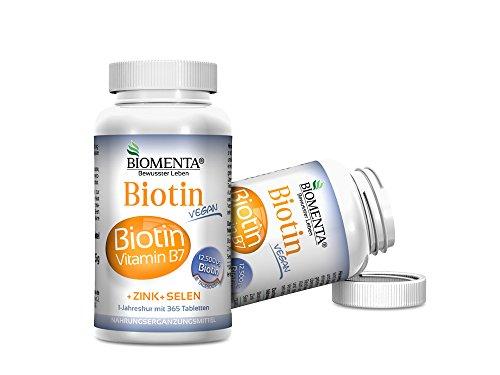 Biomenta® BIOTIN hochdosiert 12.500 µg (Vitamin B7) + Zink + Selen für gesunde Haare, Haut und Nägel - 365 Biotin-Tabletten VEGAN - Jahreskur