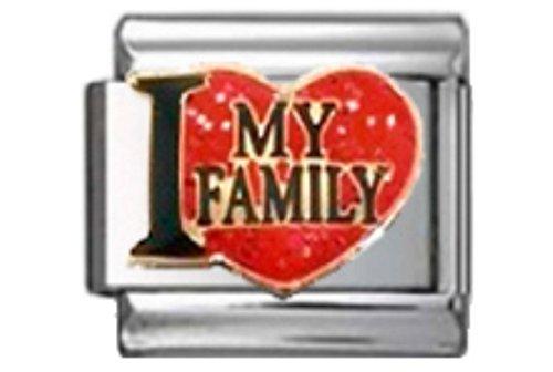 FAMILY LOVE MY FAMILY Enamel Italian Charm 9mm Link - 1 x FA187 Single Bracelet - Charm Traditional Italian