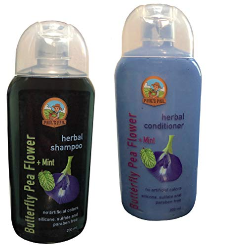 Imported from Thailand - Paul's Pail Butterfly Pea Flower Shampoo & Conditioner Set (Hair Products For Dry Color Treated Hair)