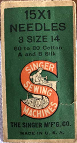 Singer Sewing Machine Needles 15 x 1 ... 3 Size 14 ... 60 to 80 Cotton ... A and B Silk ... New Old Stock as shown