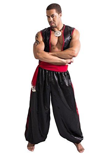Men's Belly Dance Harem Pants, Vest and Hip Scarf Costume Set Magnificent Man (BLACK/RED, -