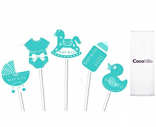 Coco Musical Mobile - 10 x Coco&Bo - Baby & Co Cupcake Toppers - Breakfast at Tiffany's Baby Shower, Chirstening Party Table Cake Picks Decorations by Coco & Bo