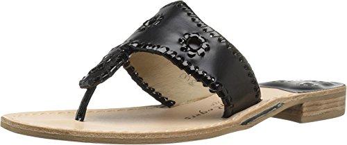 Jack Rogers Women's Palm Beach Navajo Classic Sandal,Black/Black Patent,8 ()