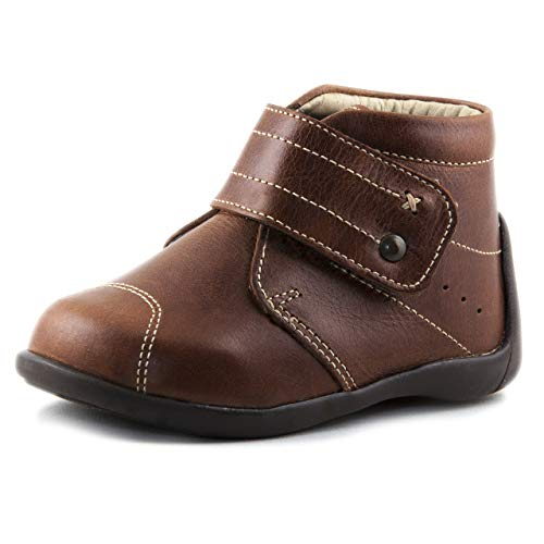 Wobbly Waddlers First Steps Martin Baby Toddler Leather Boots Ankle Arch Support, Brown, 5 M US Toddler