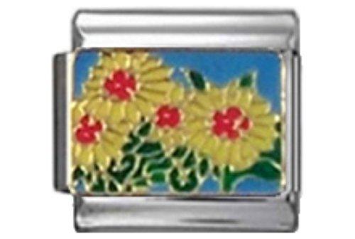 Stylysh Charms Daisy Daisies Flowers Enamel Italian 9mm Link GA039 - Flower 9mm Italian Charm