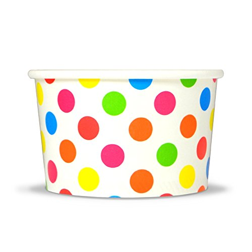 Rainbow Paper Ice Cream Cups - 4 oz Polka Dot Dessert Bowls - Comes In Many Colors & Sizes! Frozen Dessert Supplies - Fast Shipping! 50 Count