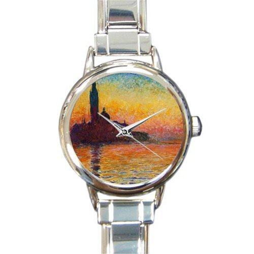 Personalized Watch Dusk in Venice by Claude Monet Art Round Italian Charm stainless steel Watch - Christmas Guft