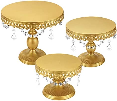 HabiLife 3-Set Cake Stand, 8/10/12 Inch Round Metal Cupcake Stand with Gorgeous Dangles Dessert Stands Candy Display Tray for Wedding Party Birthday Celebration - Gold