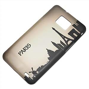 Viaje Paris 2, Voyage, Embossed Caso Carcasa Funda Duro Gel TPU Protección Case Cover, Diseño con Textura en Relieve para Samsung S2 i9100 i9200.