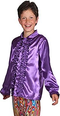 Niño años 70 volante camisa satén - púrpura: Amazon.es: Juguetes y juegos