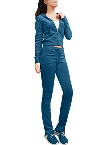 - NE PEOPLE Womens Casual Basic Velour Zip Up Hoodie Sweatsuit Tracksuit Set S-3XL Teal