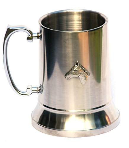 Pewter Horse Head Emblem Stainless Steel Tankard by Pewter Wares