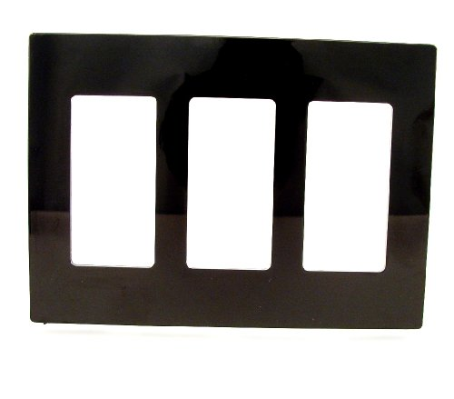 (Leviton 80311-SE 3-Gang Decora Plus Wallplate Screwless Snap-On Mount, Ebony)