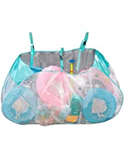 Pool Storage Bag,Large Capacity Foldable Hook Mesh Bag,Extra Large Pool Storage Bag,Versatile Pool Organizer for Floats, Balls, Inflatable Toys, Patio Accessories and More