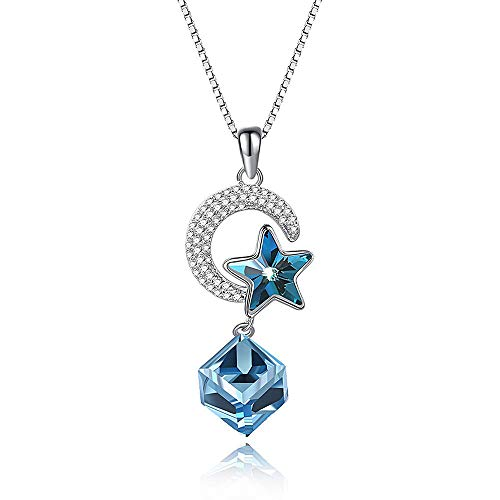 Luccaful Sterling Silver Star Moon Sugar Necklace Female Crystal from Austrian 2019 Hot Summer Sale Fit Women Female