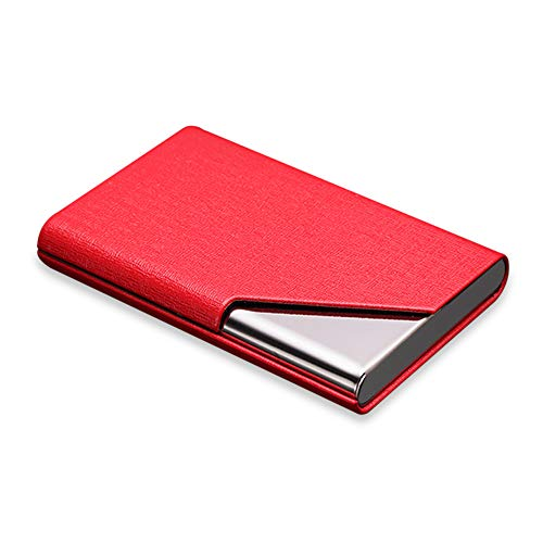 DMFLY Professional Business Card Holder Business Card Case Stainless Steel Card Holder Keep Business Cards Safe and Clean (Red1)