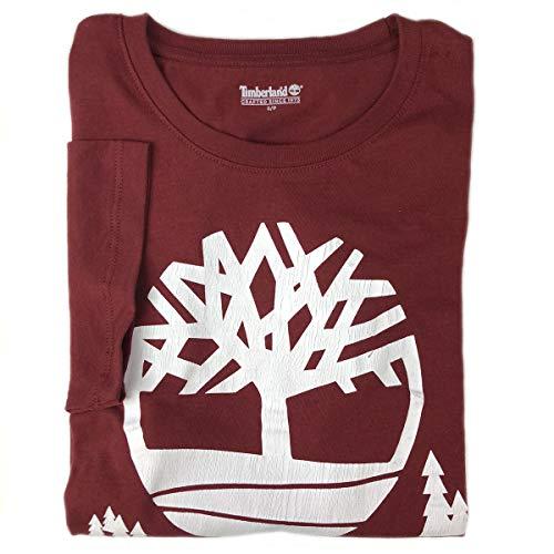 Timberland Men's Short Sleeve Cracked Tree Logo Cotton T-Shirt (Maroon Red, Medium)