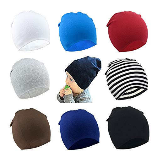 - DRESHOW BQUBO 8 Pack Unisex Baby Beanie Hat Infant Baby Soft Cute Knit Cap Nursery Beanie