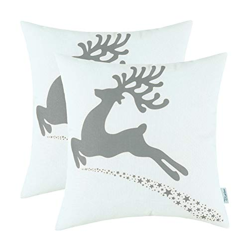 CaliTime Pack of 2 Soft Canvas Throw Pillow Covers Cases for Couch Sofa Home Decoration Christmas Holiday Reindeer with Stars Print 18 X 18 Inches Medium Grey ()
