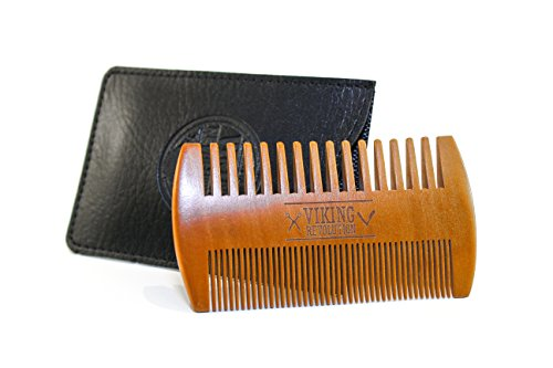 BEST-DEAL-Wood-Beard-Comb-Dual-Action-Fine-Coarse-Teeth-w-Protective-Synthetic-Leather-Case-Top-Wooden-Beard-Mustache-Pocket-Comb-by-Viking-Revolution