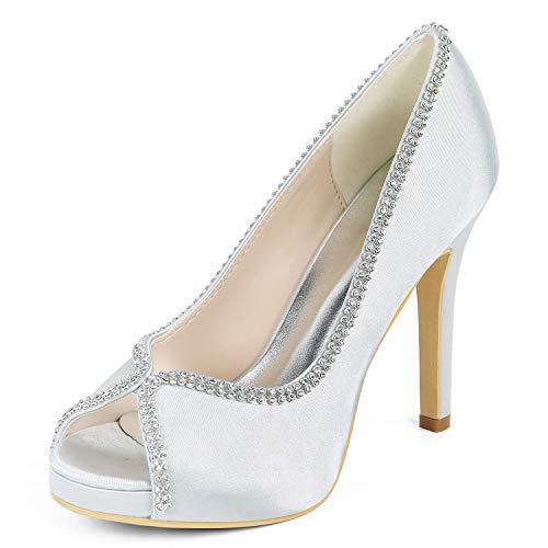 35 Silver nouveau Dentelle Mariage Fleur Satin Hauts Strass Eleoulck Femmes Taille Chaussures En 42 Talons De w6xq1WX4Z