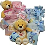 Sweet Baby Diaper Bag Gift Basket with Teddy Bear, Boy Blue