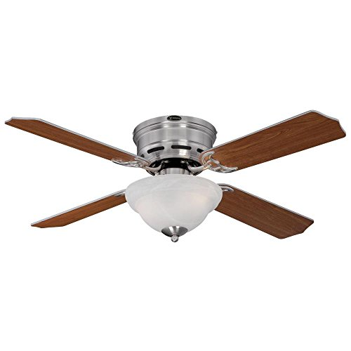 Westinghouse 7212800 Traditional Hadley 42 inch Brushed Nickel Indoor Ceiling Fan, Light Kit with White Alabaster Bowl