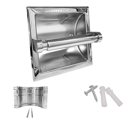 M2cbridge 18/8 Stainless Steel Hotel Style Mirror Polishing Recessed Bathroom Toilet Paper -